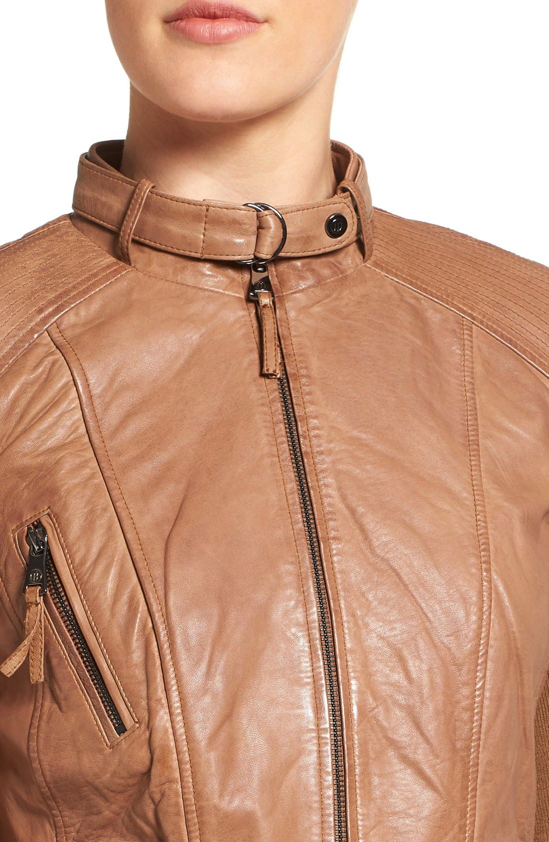 Alternate Image 4  - Bernardo Zip Front Leather Biker Jacket (Regular & Petite)