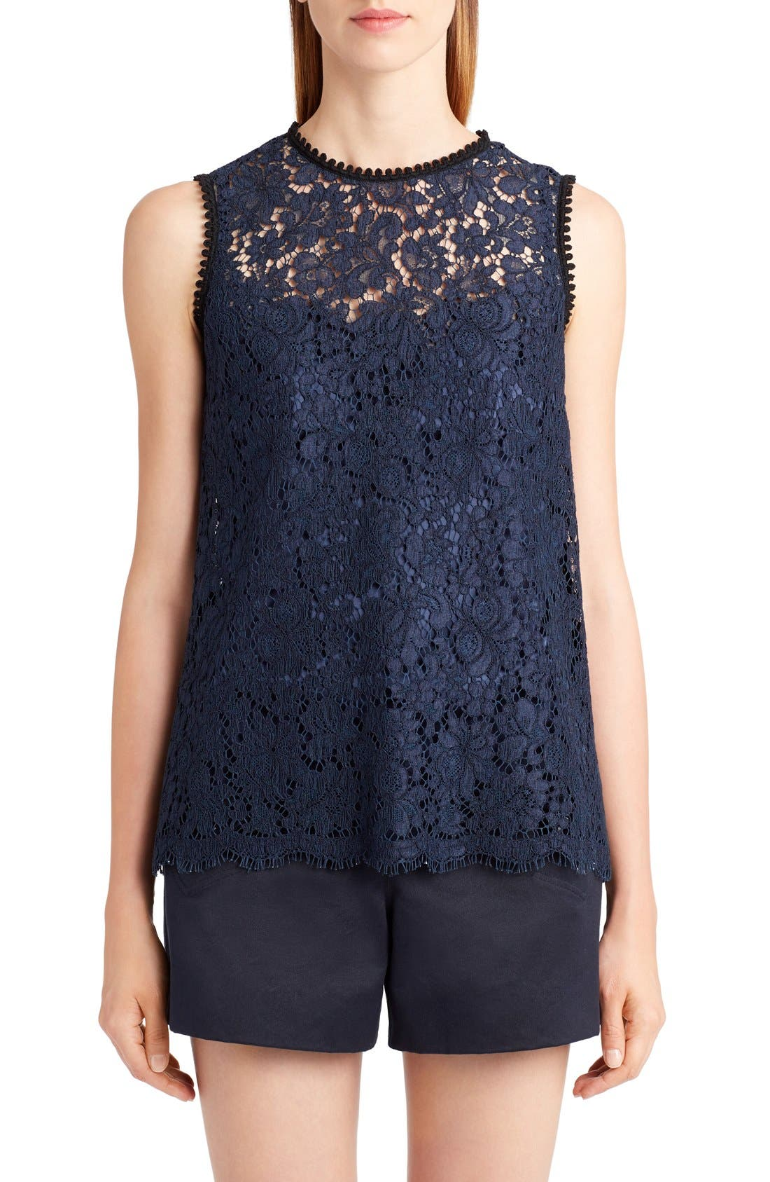 Lace Top,                         Main,                         color, Dark Navy