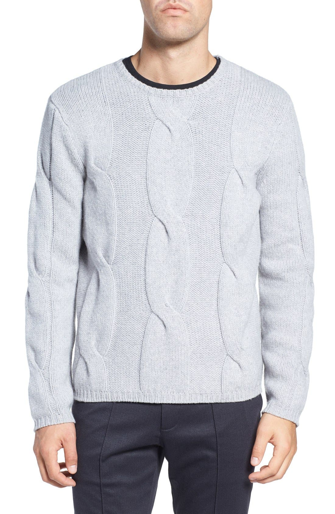 Wool & Cashmere Sweater,                             Main thumbnail 1, color,                             Light Grey