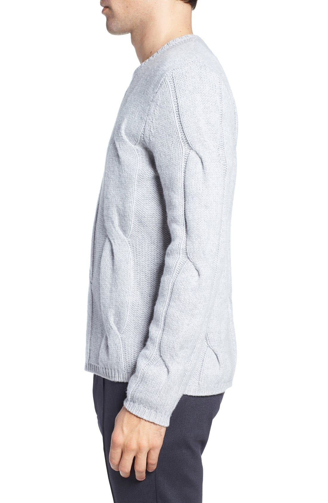 Wool & Cashmere Sweater,                             Alternate thumbnail 3, color,                             Light Grey