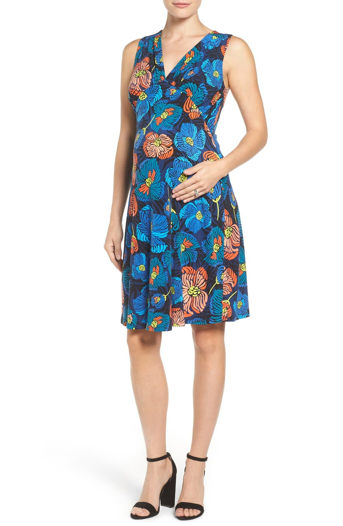 'Isabella' Sleeveless Maternity Dress,                         Main,                         color, Flora