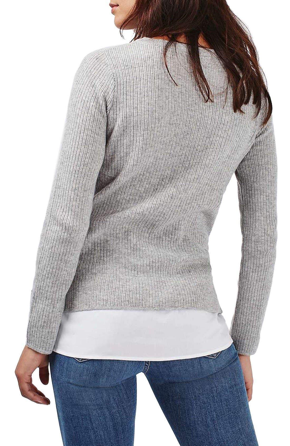 Alternate Image 3  - Topshop Ribbed Layered Sweater
