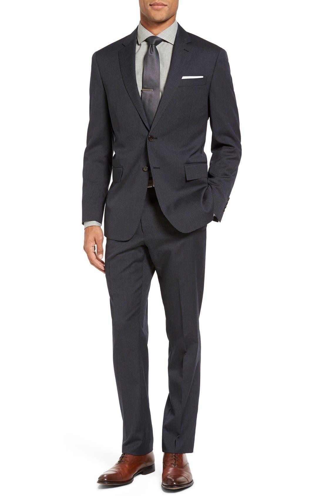 Trim Fit Stripe Wool Suit,                             Main thumbnail 1, color,                             Dark Grey