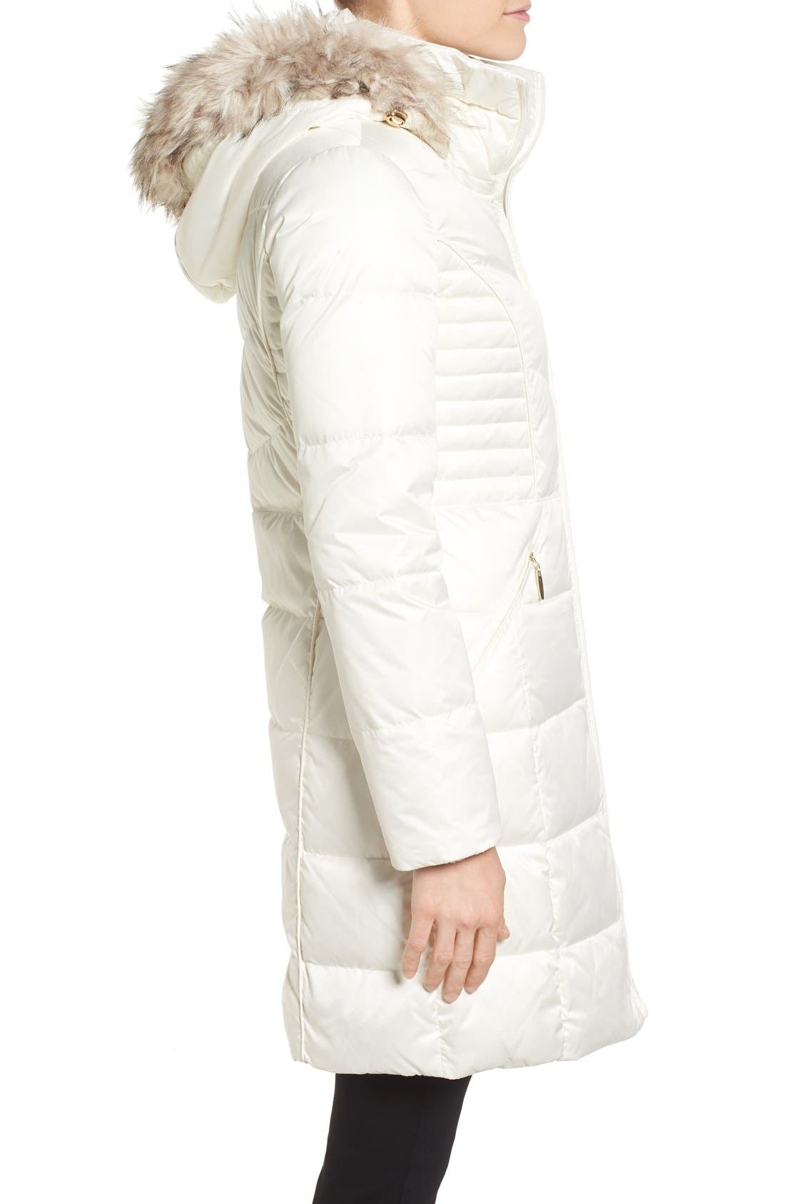 Alternate Image 3  - Ellen Tracy Faux Fur Trim Matte Satin Down Coat (Regular & Petite)