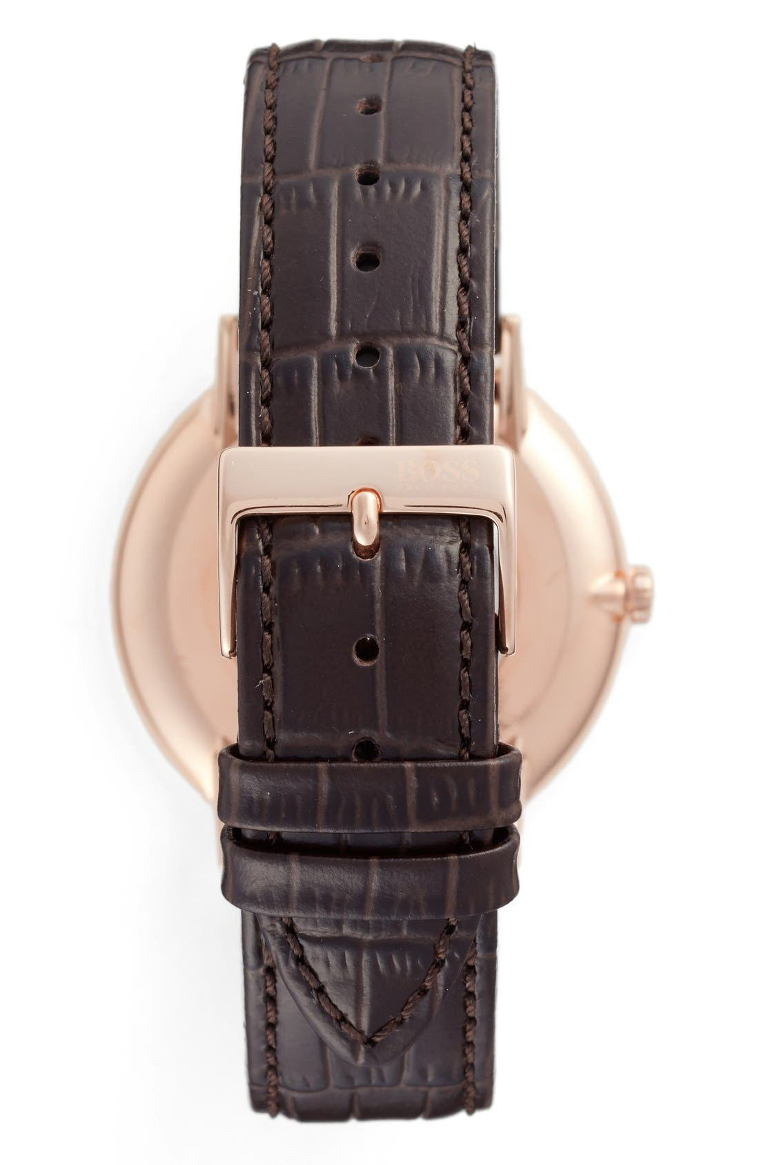 Alternate Image 2  - BOSS Slim Jackson Leather Strap Watch, 40mm