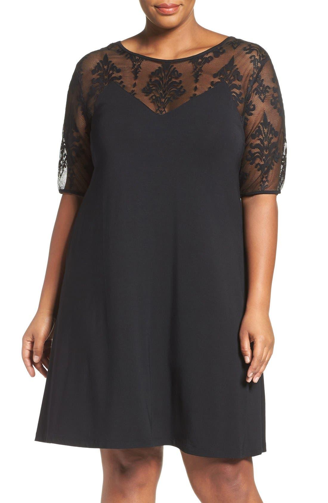 Jessar Lace Yoke Shift Dress,                         Main,                         color, Black