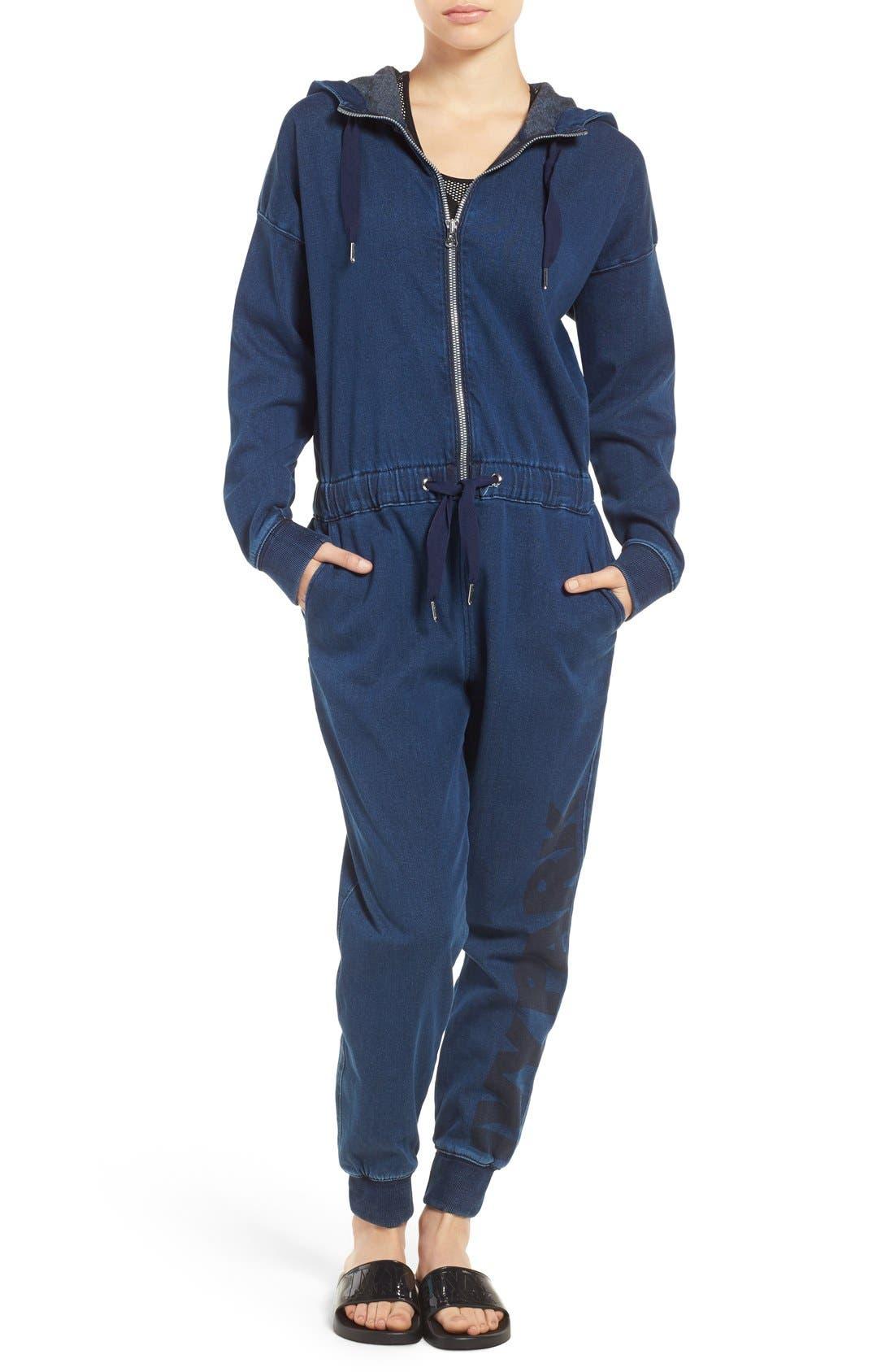 Main Image - IVY PARK® Logo Denim Jumpsuit