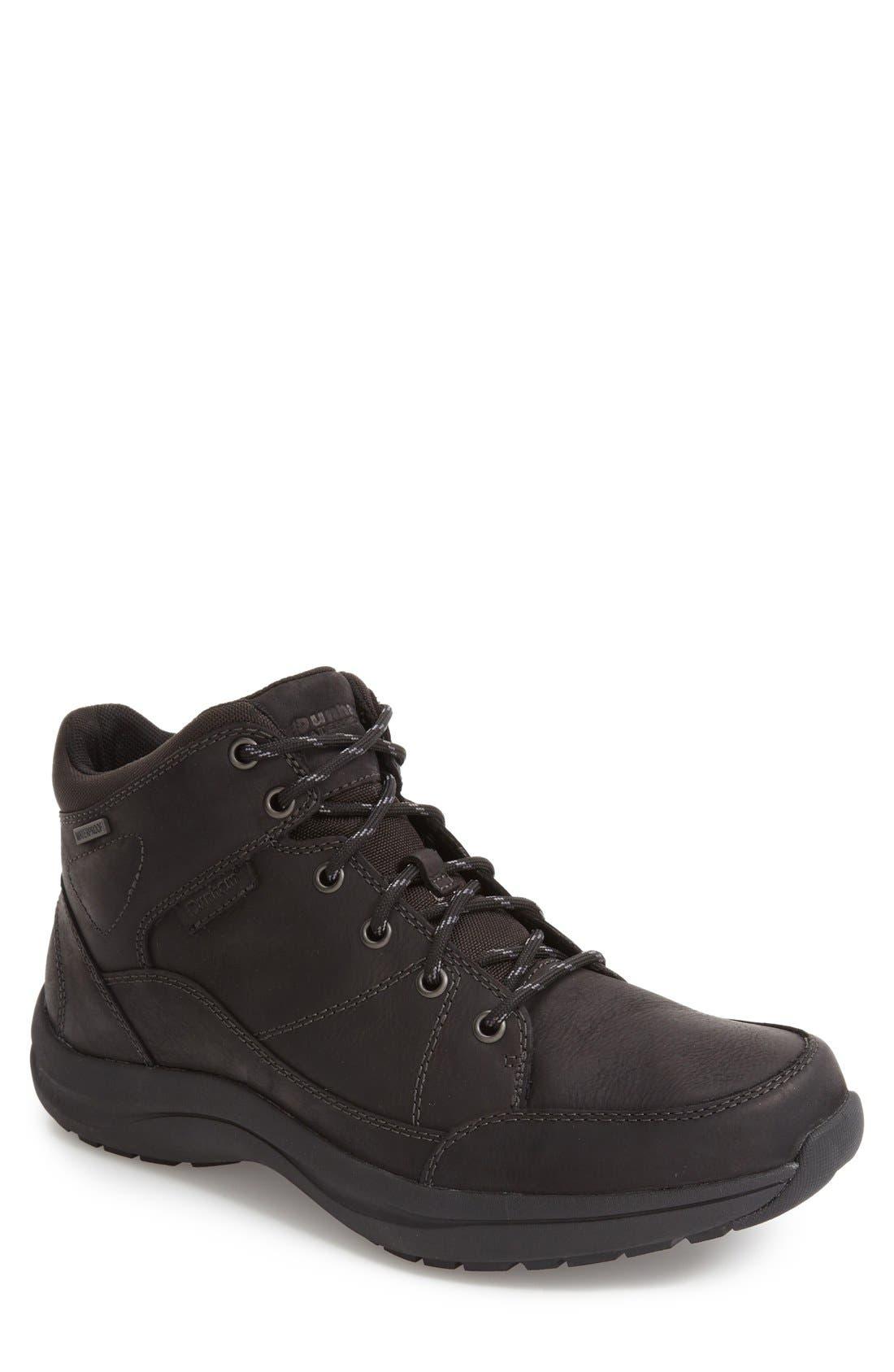 Simon-Dun Waterproof Boot,                             Main thumbnail 1, color,                             Black Leather