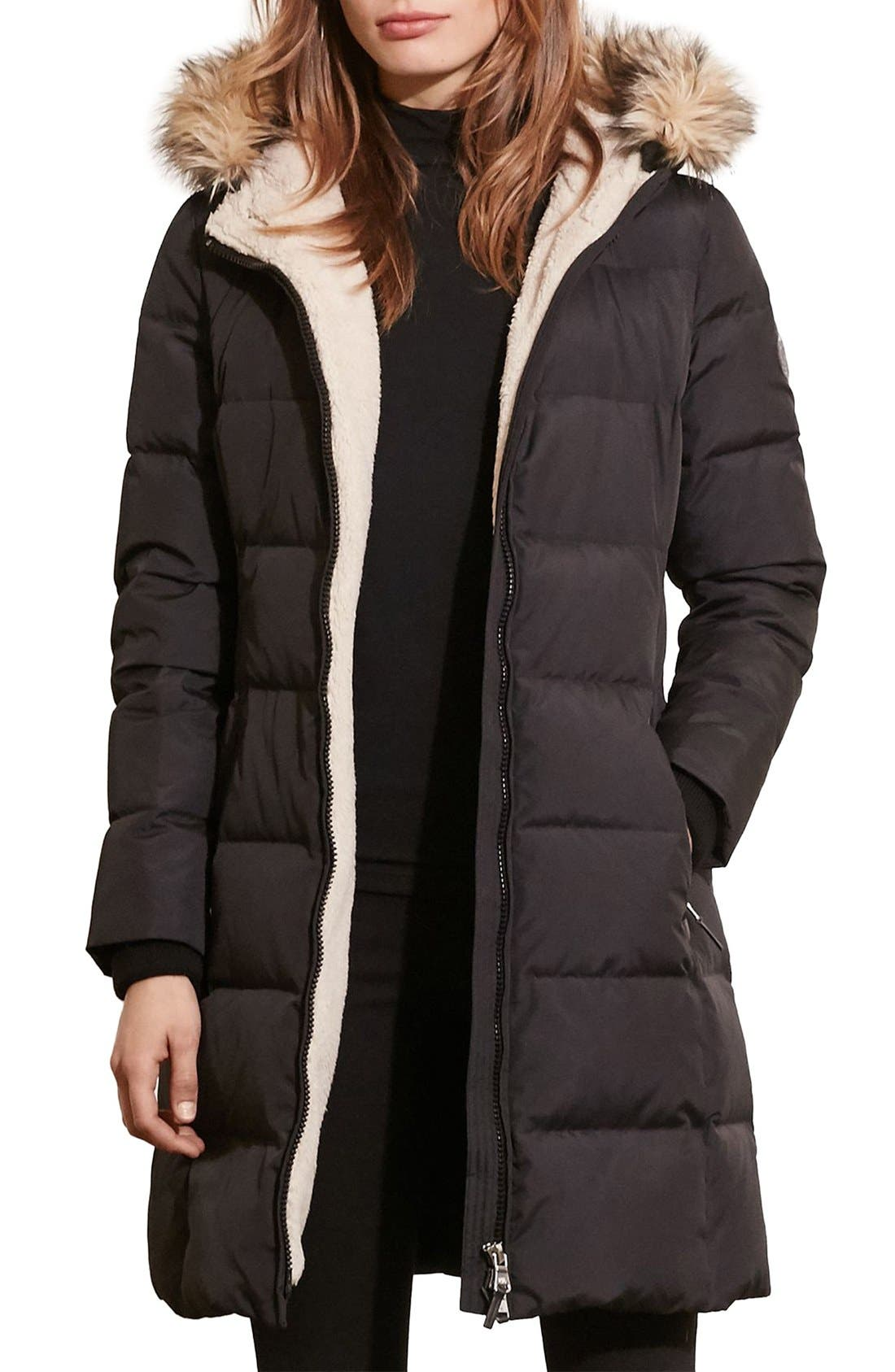Quilted Parka,                         Main,                         color, Black