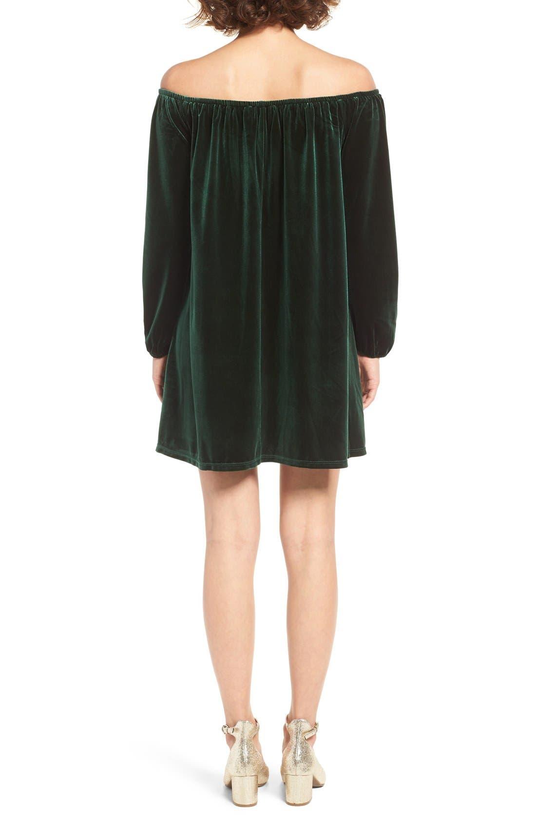 Alternate Image 2  - One Clothing Off the Shoulder Velvet Swing Dress