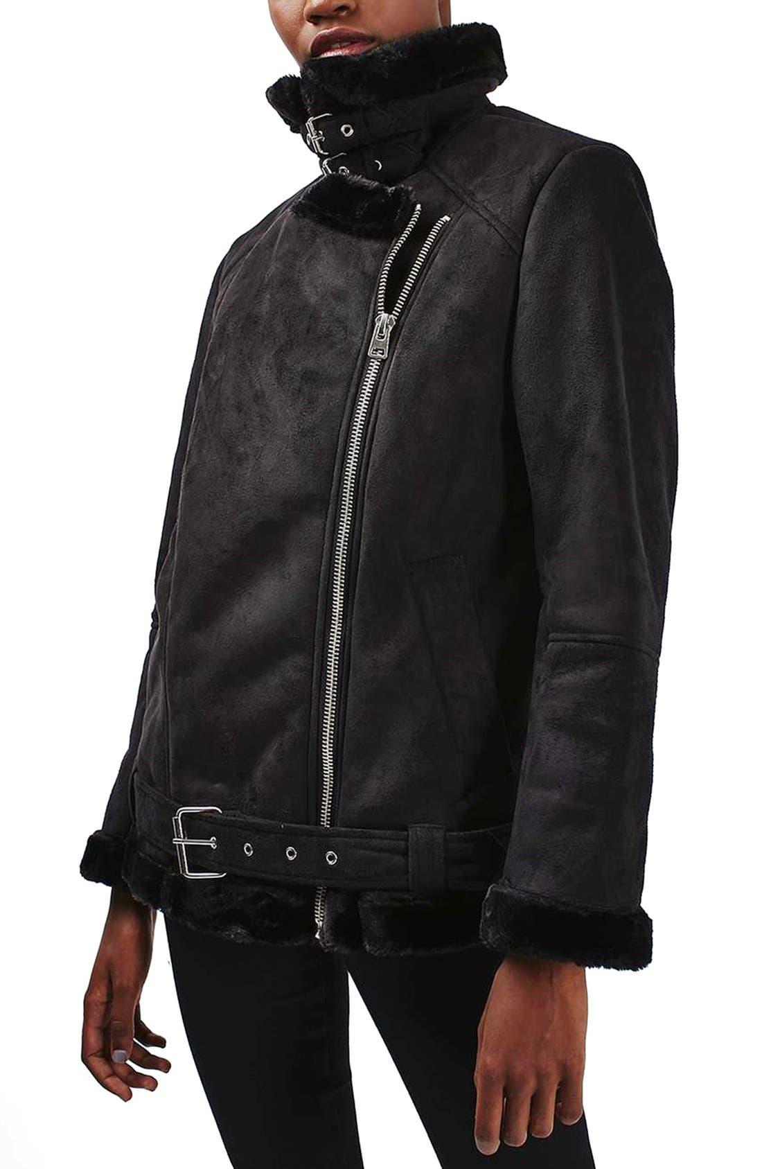 Main Image - Topshop April Faux Shearling Biker Jacket