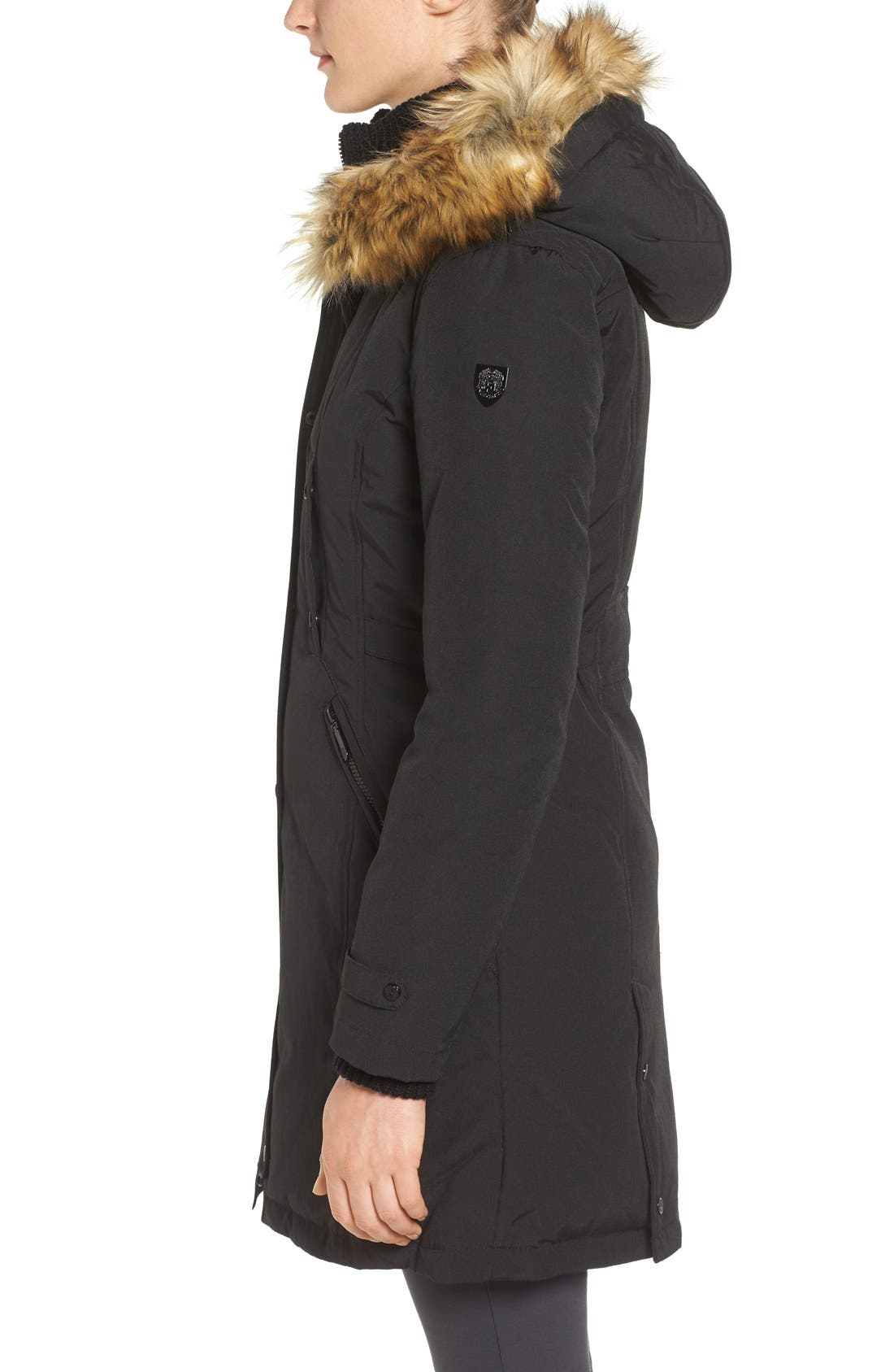 Faux Fur Trim Down & Feather Fill Parka,                             Alternate thumbnail 3, color,                             Black
