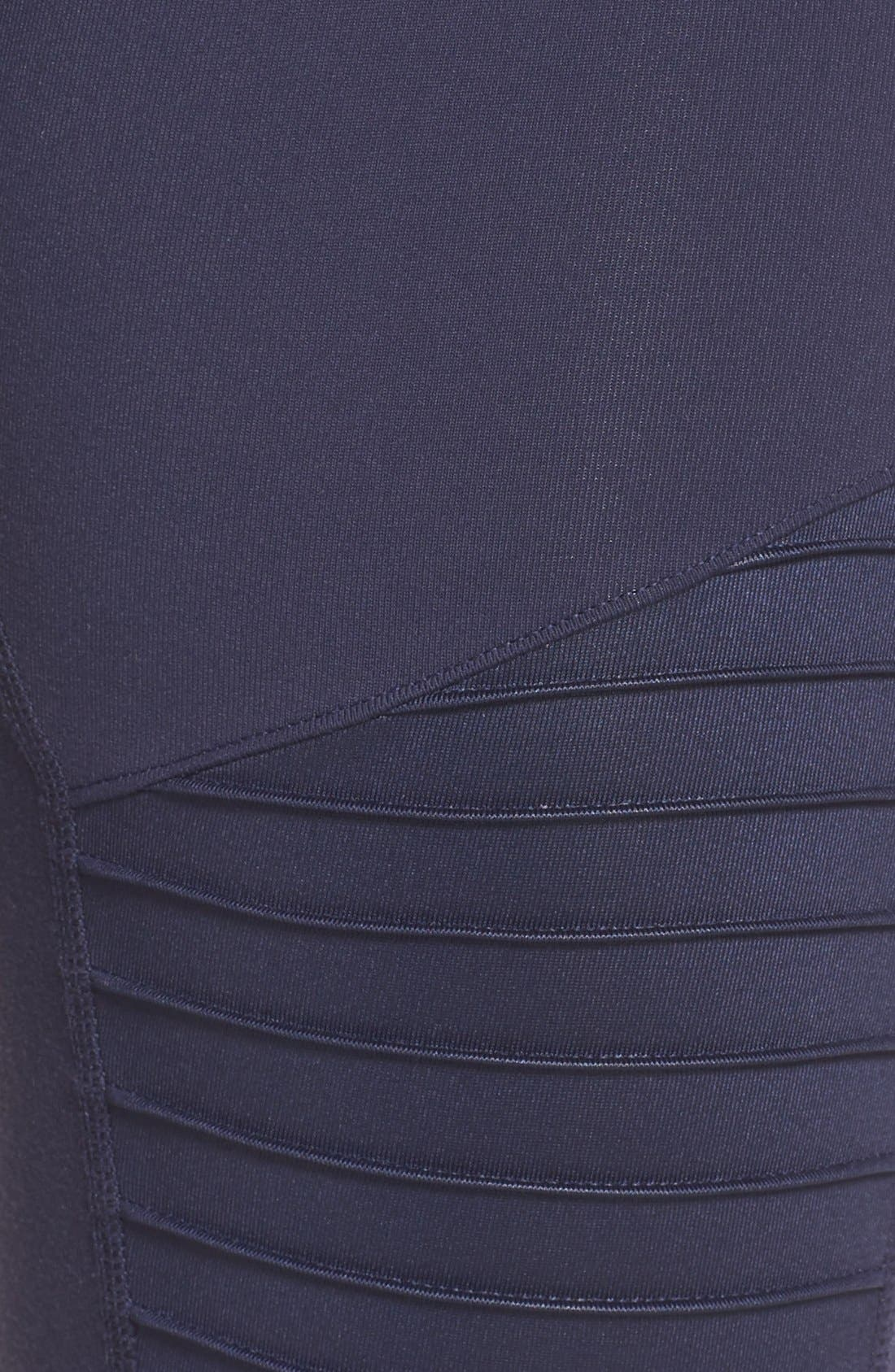 High Waist Moto Leggings,                             Alternate thumbnail 6, color,                             Rich Navy/ Rich Navy Glossy