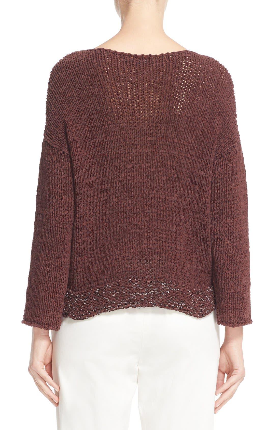 Alternate Image 2  - Fabiana Filippi Mollini Trim Cotton Blend Sweater