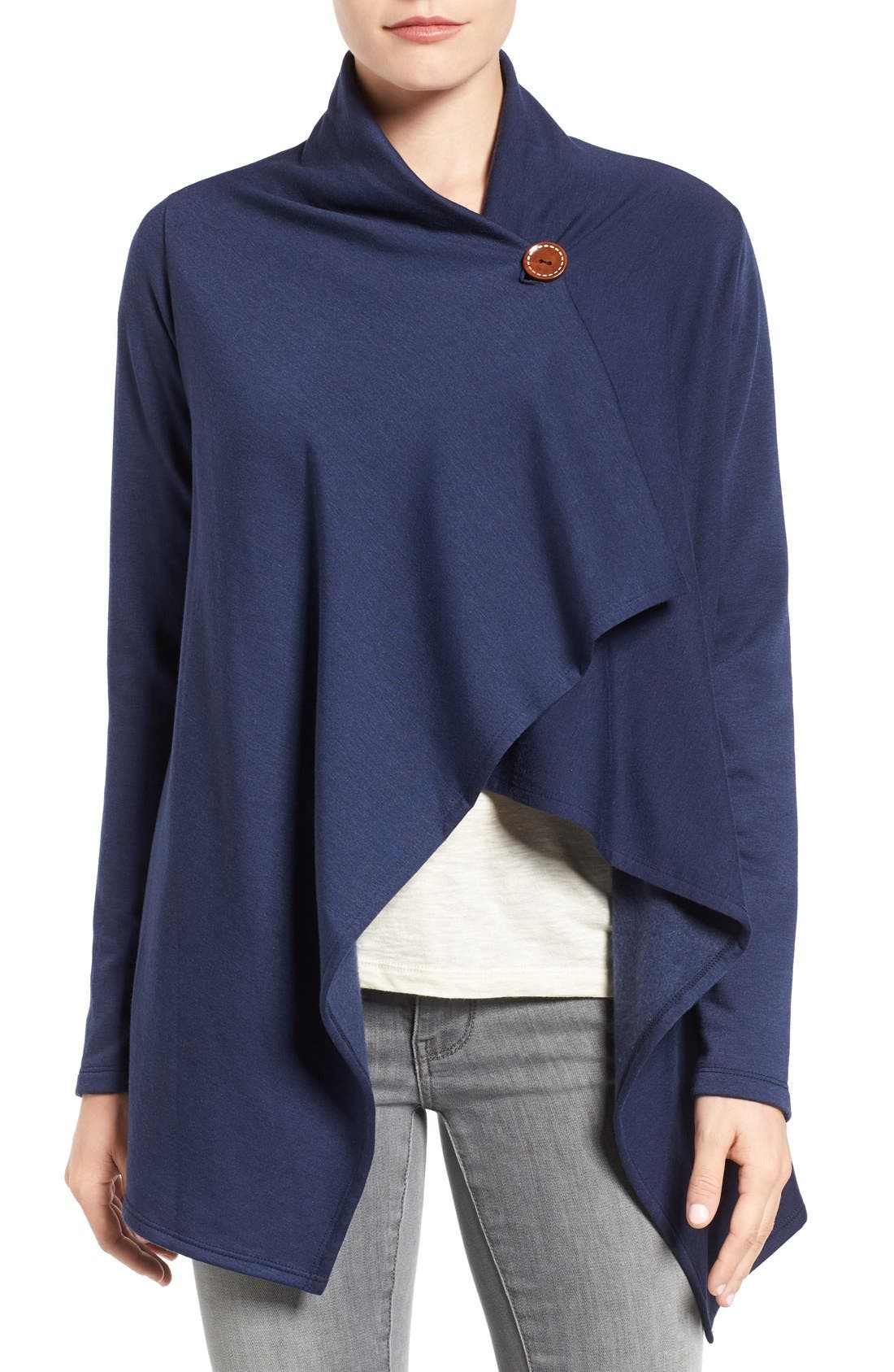 Bobeau One-Button Fleece Wrap Cardigan (Regular & Petite) | Nordstrom