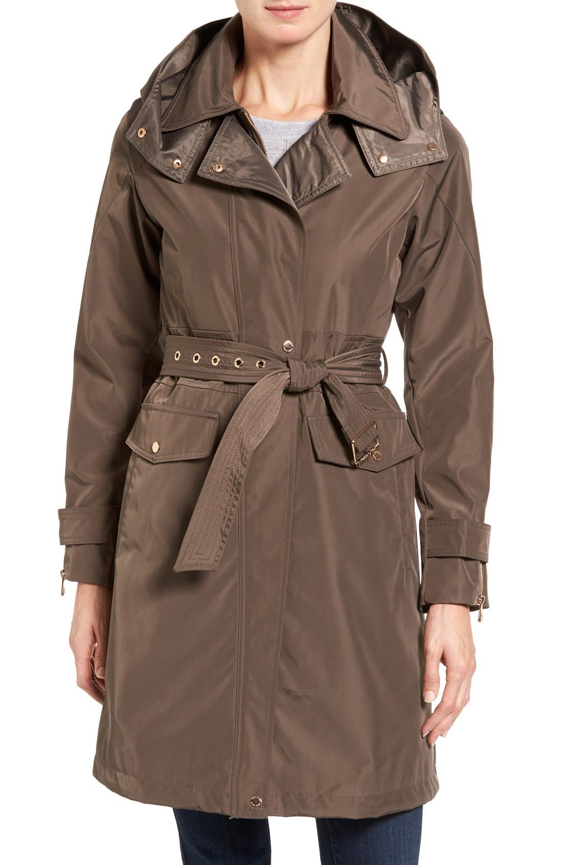 Hooded Trench Coat,                         Main,                         color, Dark Taupe
