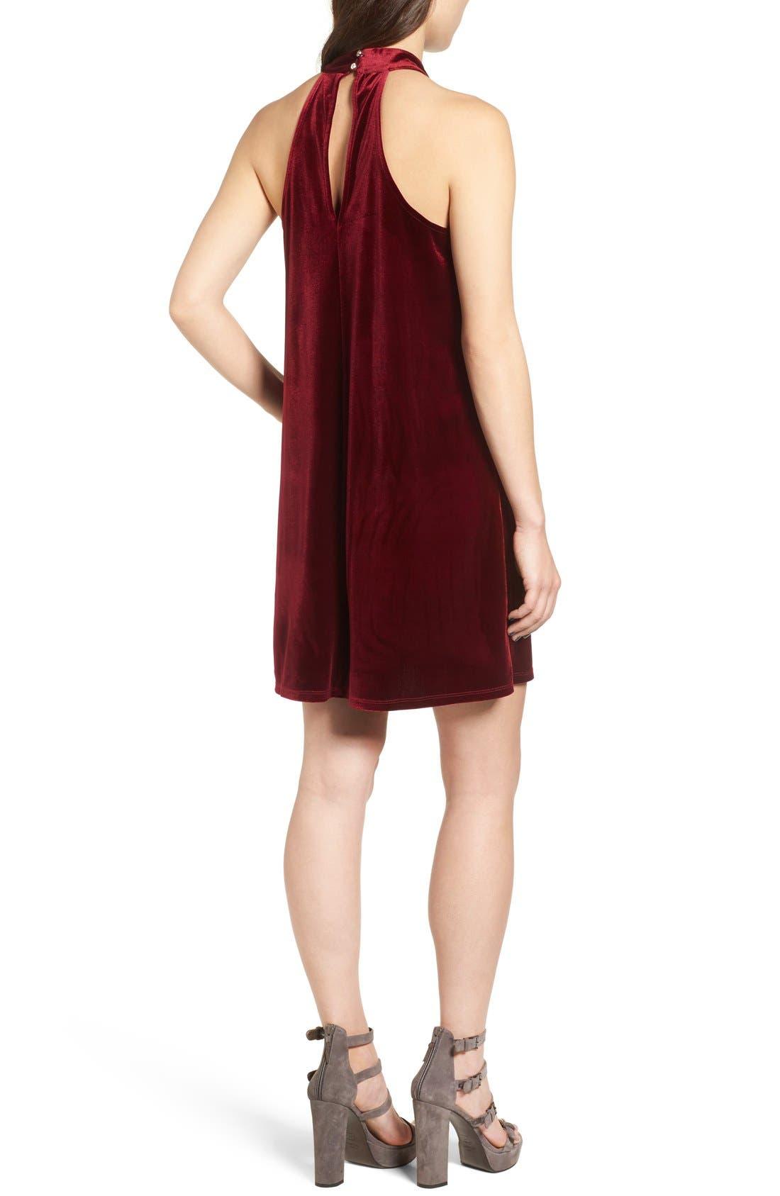 Alternate Image 2  - One Clothing Keyhole Velvet Swing Dress