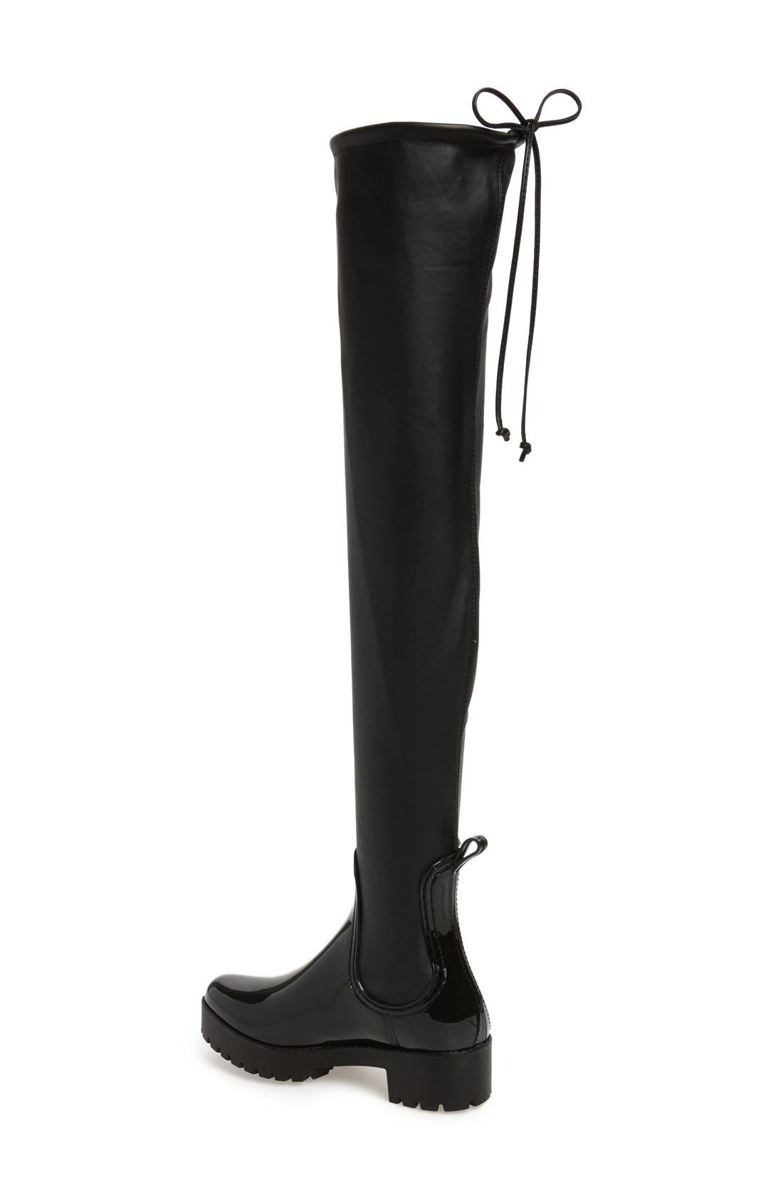Cloudy Over the Knee Rain Boot,                             Alternate thumbnail 2, color,                             Black Shiny Black