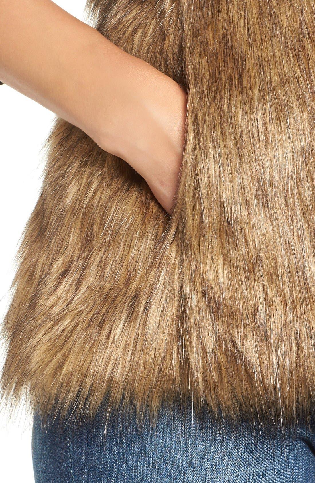 Faux Fur Vest,                             Alternate thumbnail 4, color,                             Tan Brown Faux Fur