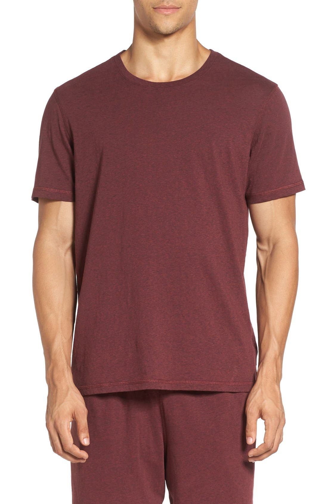 Recycled Cotton Blend T-Shirt,                         Main,                         color, Wine