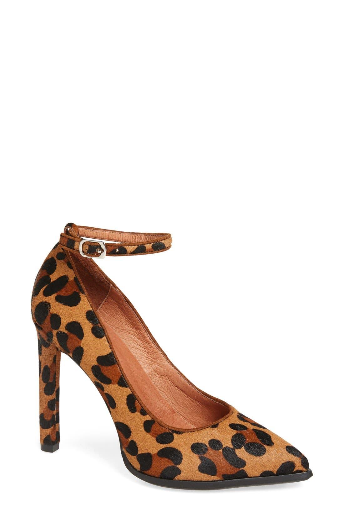 Lentine Ankle Strap Pump,                         Main,                         color, Brown Leopard