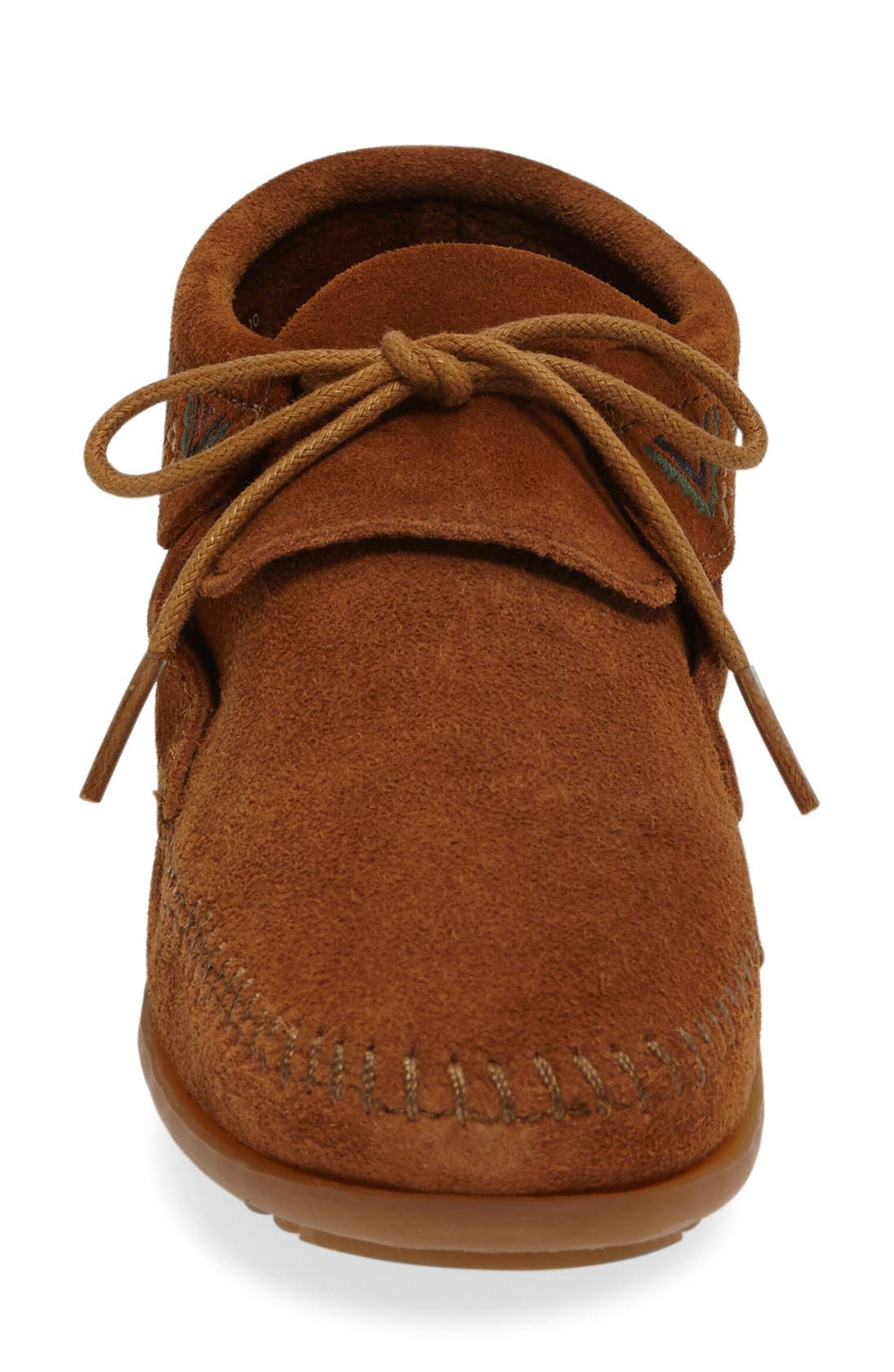 Mosaic Embroidered Moccasin,                             Alternate thumbnail 3, color,                             Brown Suede