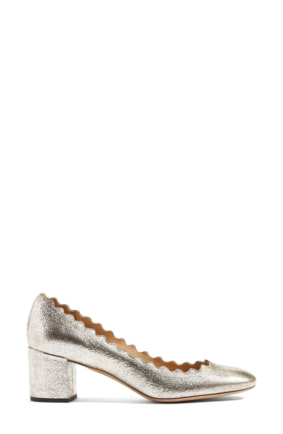'Lauren' Scalloped Pump,                             Alternate thumbnail 4, color,                             Grey Glitter