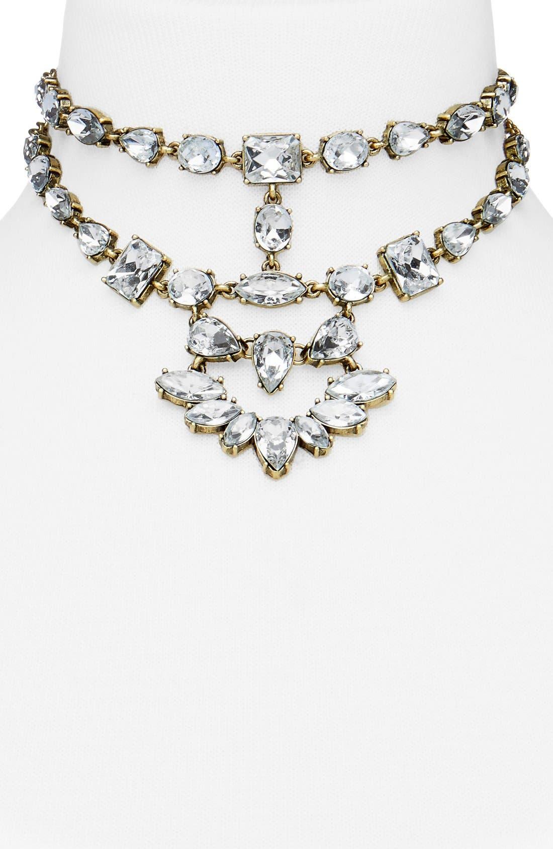 Reina Bib Necklace,                         Main,                         color, Antique Gold
