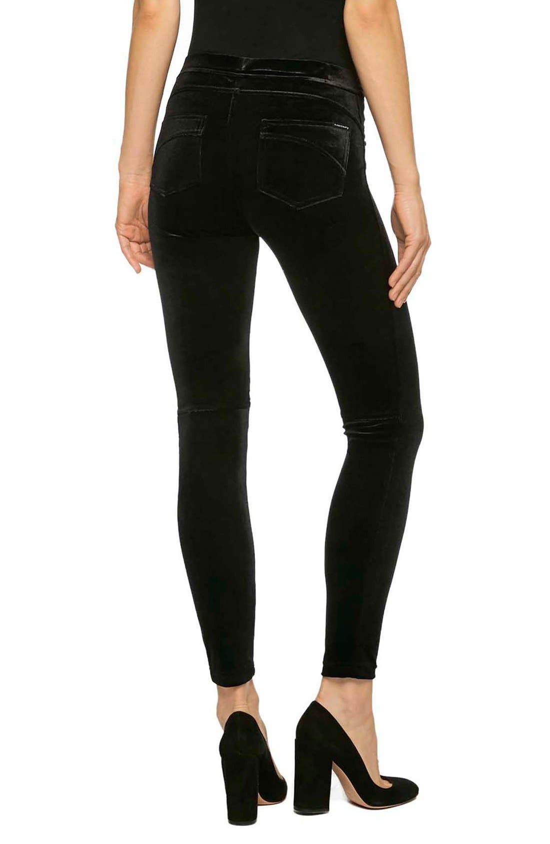 Grease Velvet Leggings,                             Alternate thumbnail 2, color,                             Solid Black Velvet