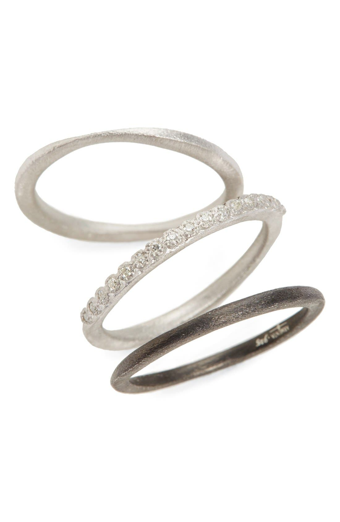 New World Set of Three Stacking Rings,                         Main,                         color, Silver