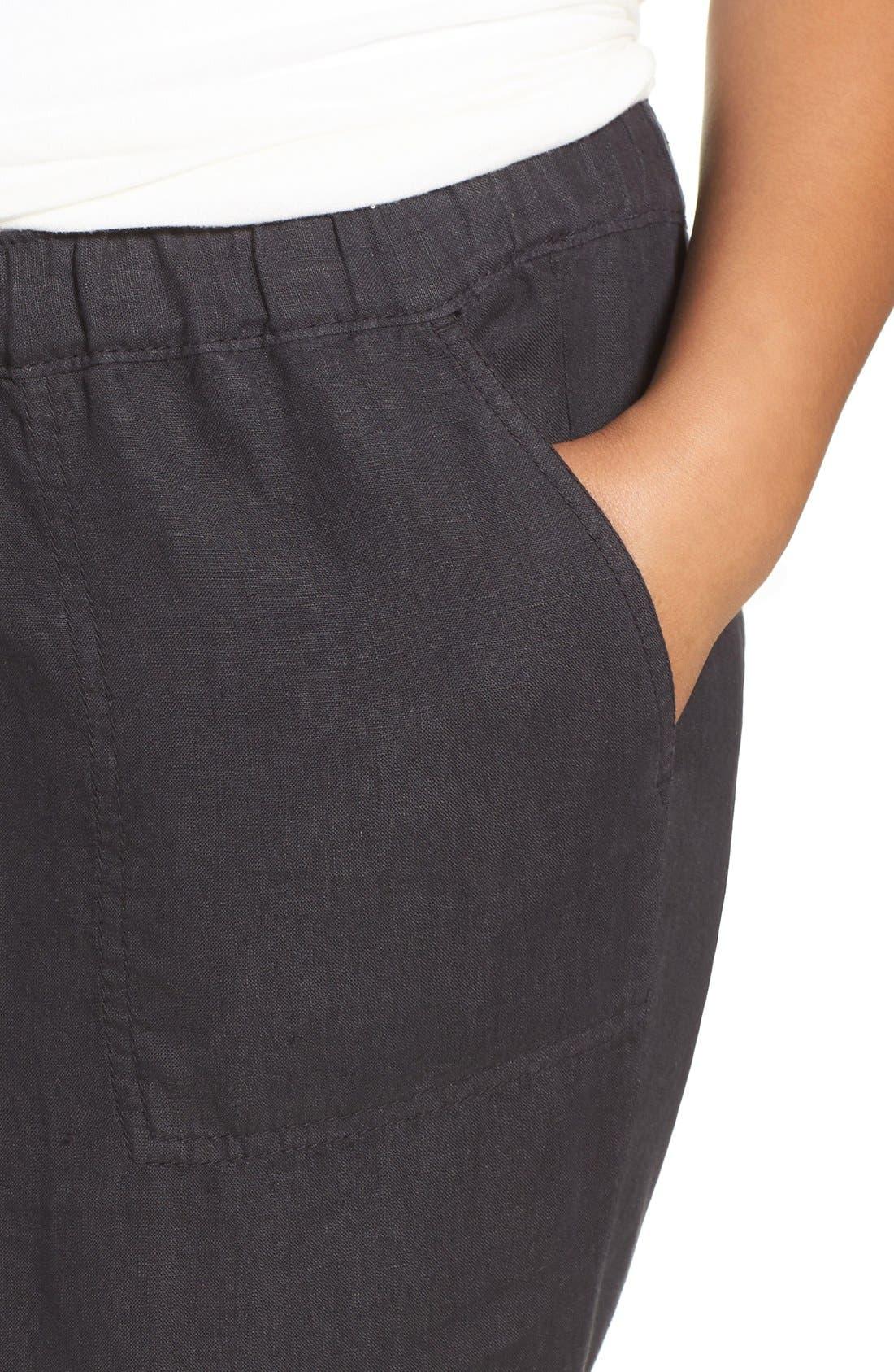 Alternate Image 5  - Caslon® Linen Jogger Pants (Plus Size)