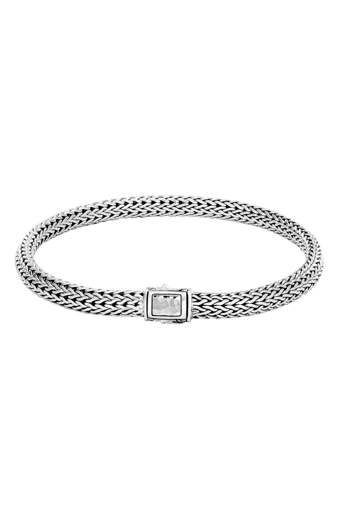 Classic Chain Hammered Clasp Bracelet,                         Main,                         color, Silver