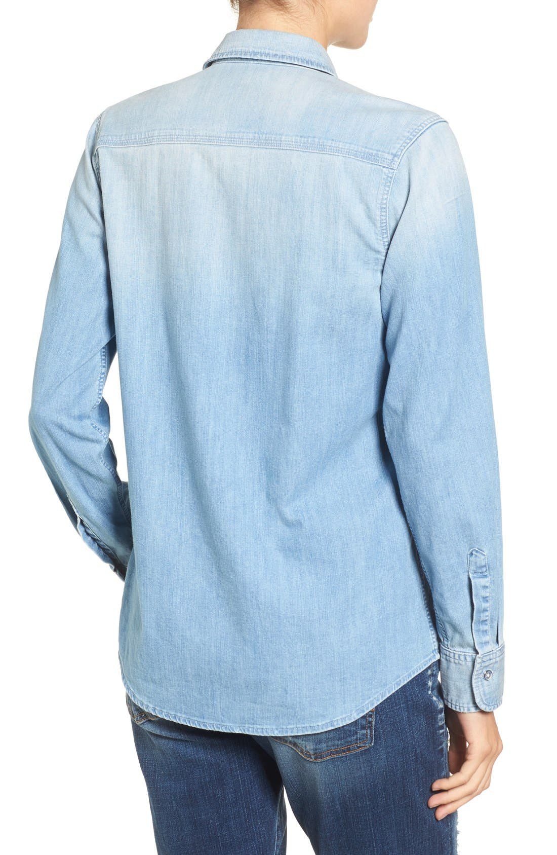 Alternate Image 3  - 7 For All Mankind® Torn Pocket Denim Boyfriend Shirt