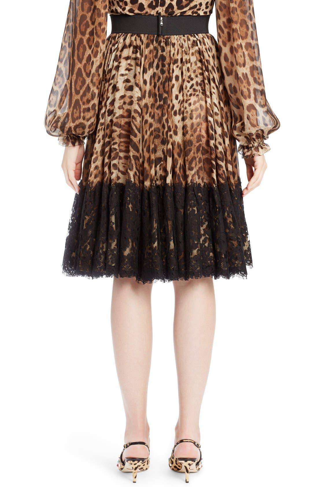 Lace Overlay Leopard Print Chiffon Full Skirt,                             Alternate thumbnail 2, color,                             Leopard