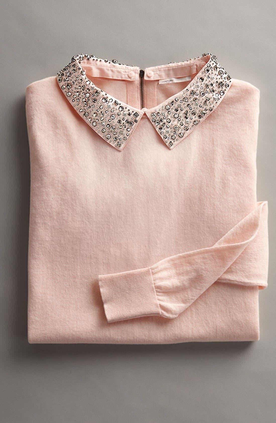 Alternate Image 6  - Halogen® Embellished Collar Sweater (Regular & Petite)