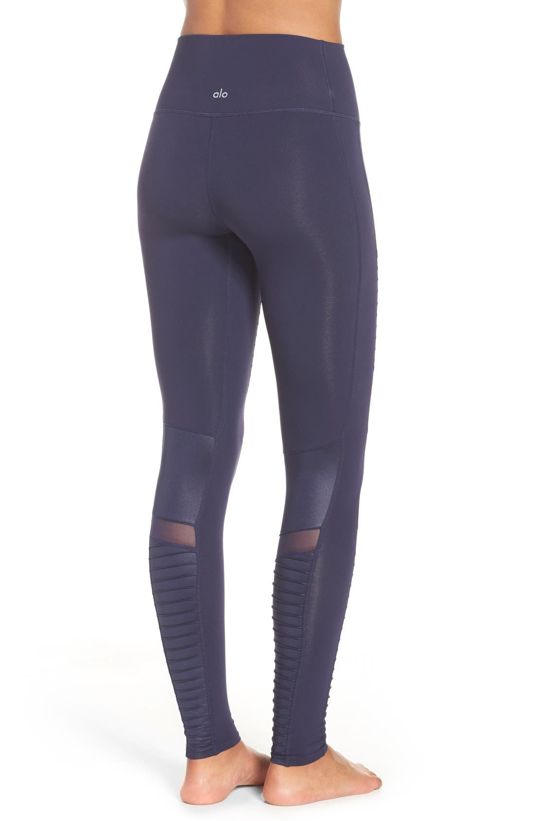 High Waist Moto Leggings,                             Alternate thumbnail 2, color,                             Rich Navy/ Rich Navy Glossy