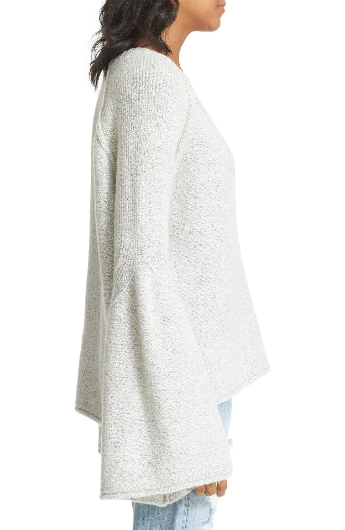 Lovely Lines Bell Sleeve Sweater,                             Alternate thumbnail 3, color,                             Ivory