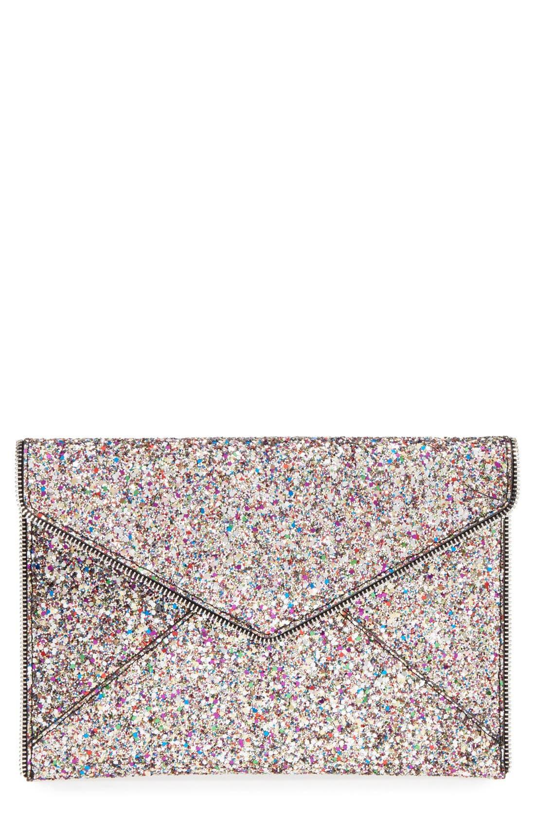 'Leo' Envelope Clutch,                         Main,                         color, Silver/ Silver Hrdwr
