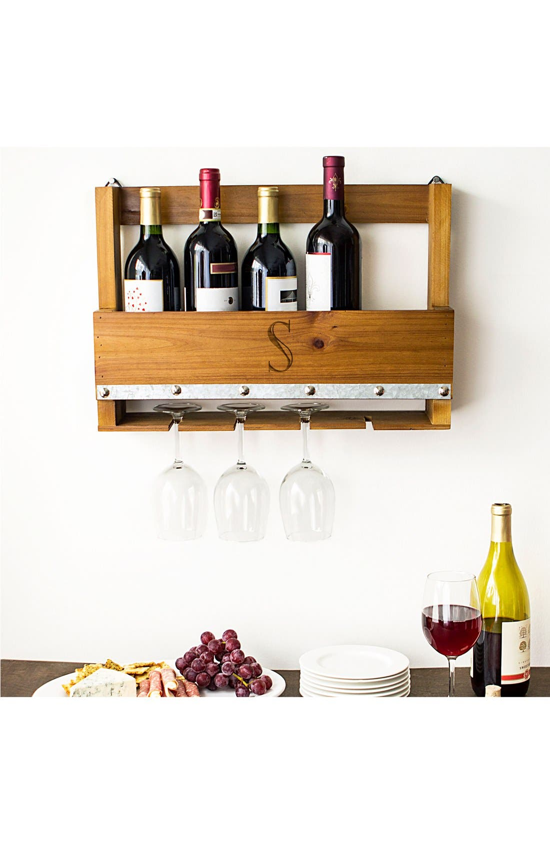Alternate Image 7  - Cathy's Concepts Personalized Rustic Wall Wine Rack & Glass Holder