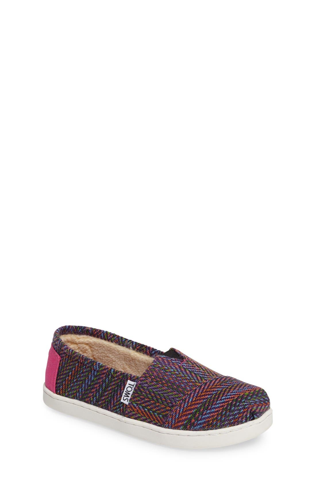 Main Image - TOMS Classic Herringbone Faux Fur Lined Slip-On (Toddler, Little Kid & Big Kid)