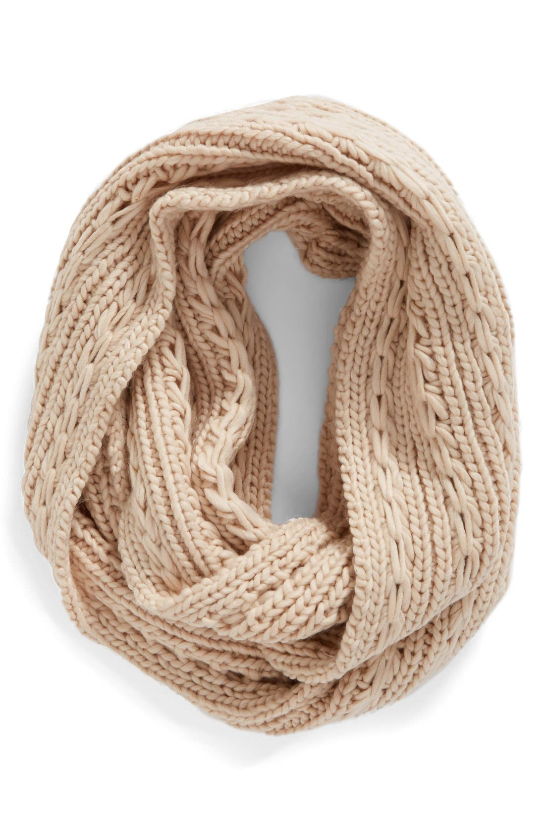 Cable Knit Infinity Scarf,                             Main thumbnail 1, color,                             Light Pink