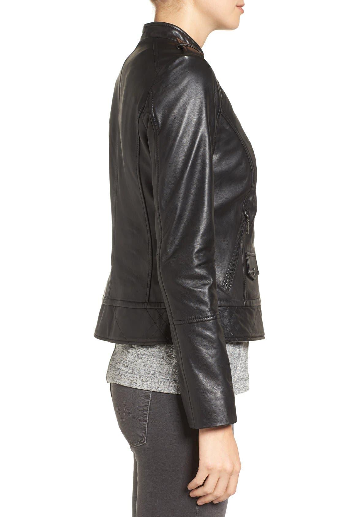 Alternate Image 3  - Bernardo Slim Fit Leather Moto Jacket