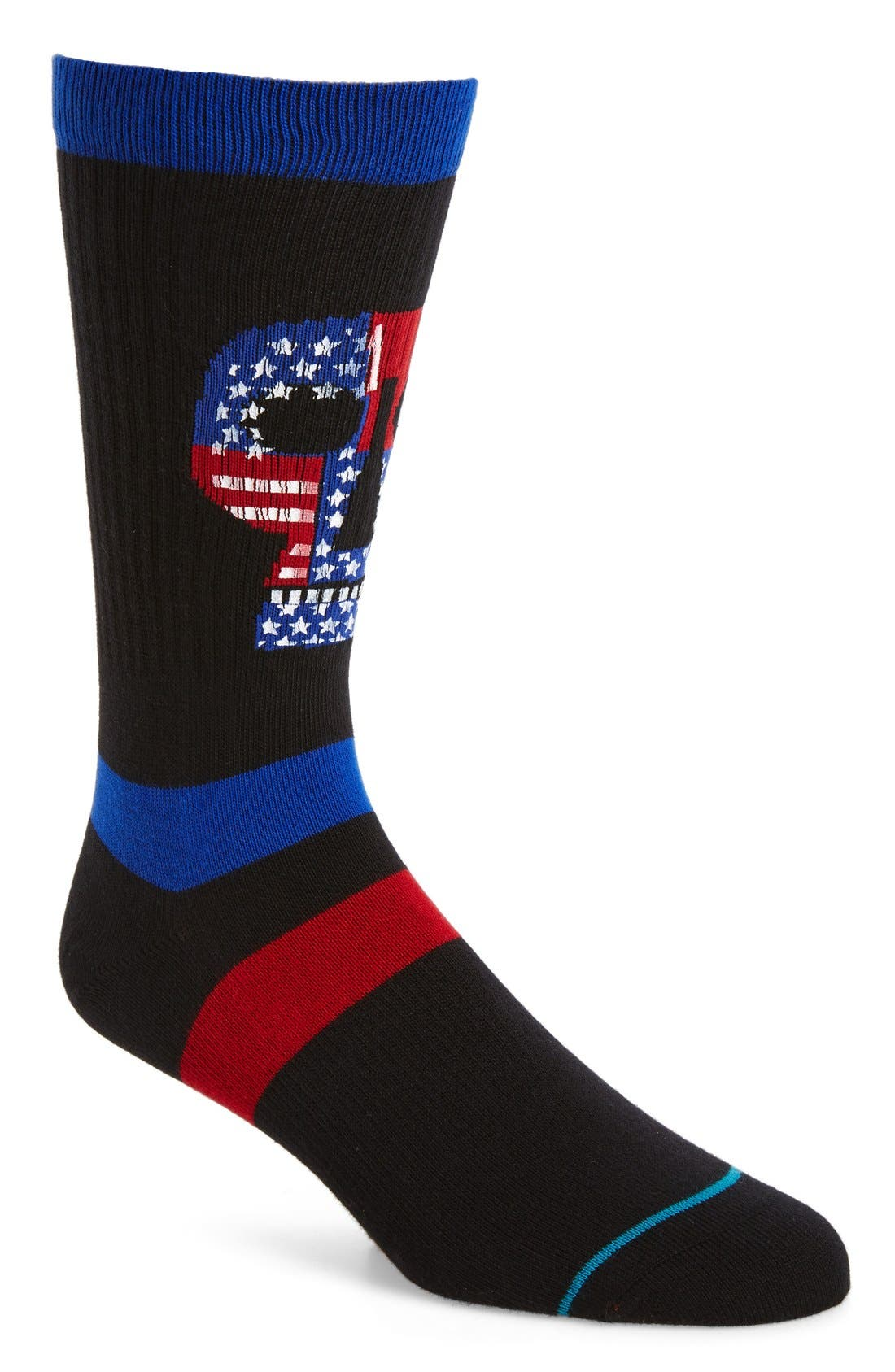 Freedom Heads Classic Crew Socks,                             Main thumbnail 1, color,                             Black