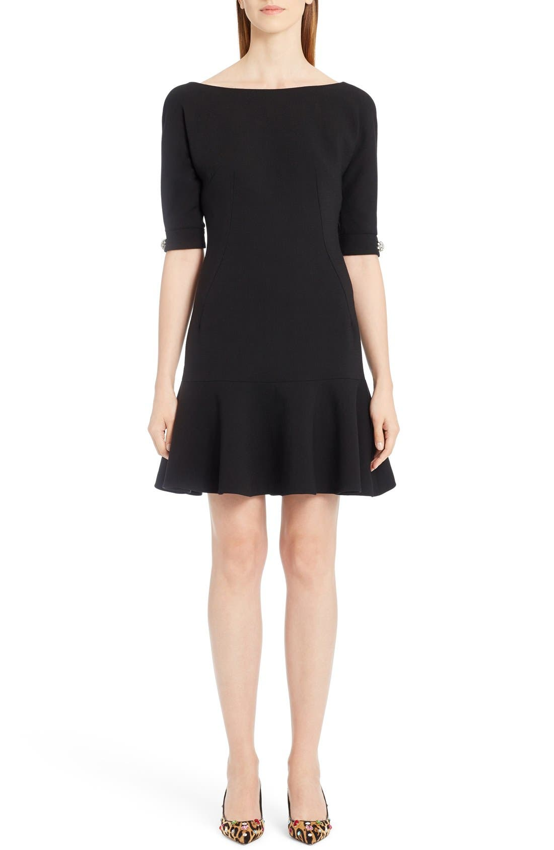 Stretch Wool Fit & Flare Dress,                         Main,                         color, Black