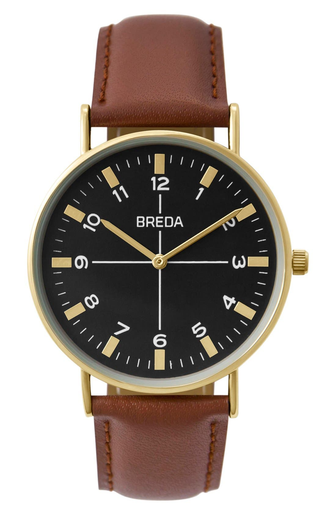 BREDA Belmont Round Leather Strap Watch, 39mm