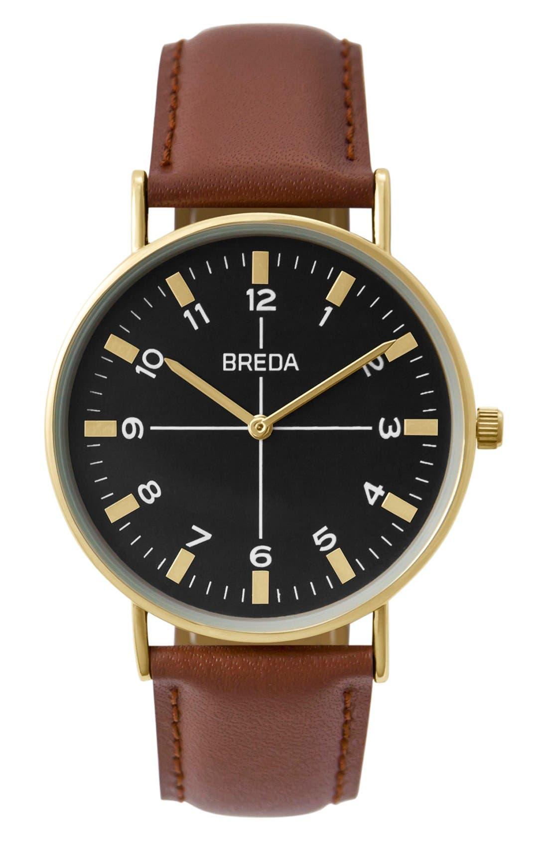 BREDA Belmont Round Leather Strap Watch, 39mm