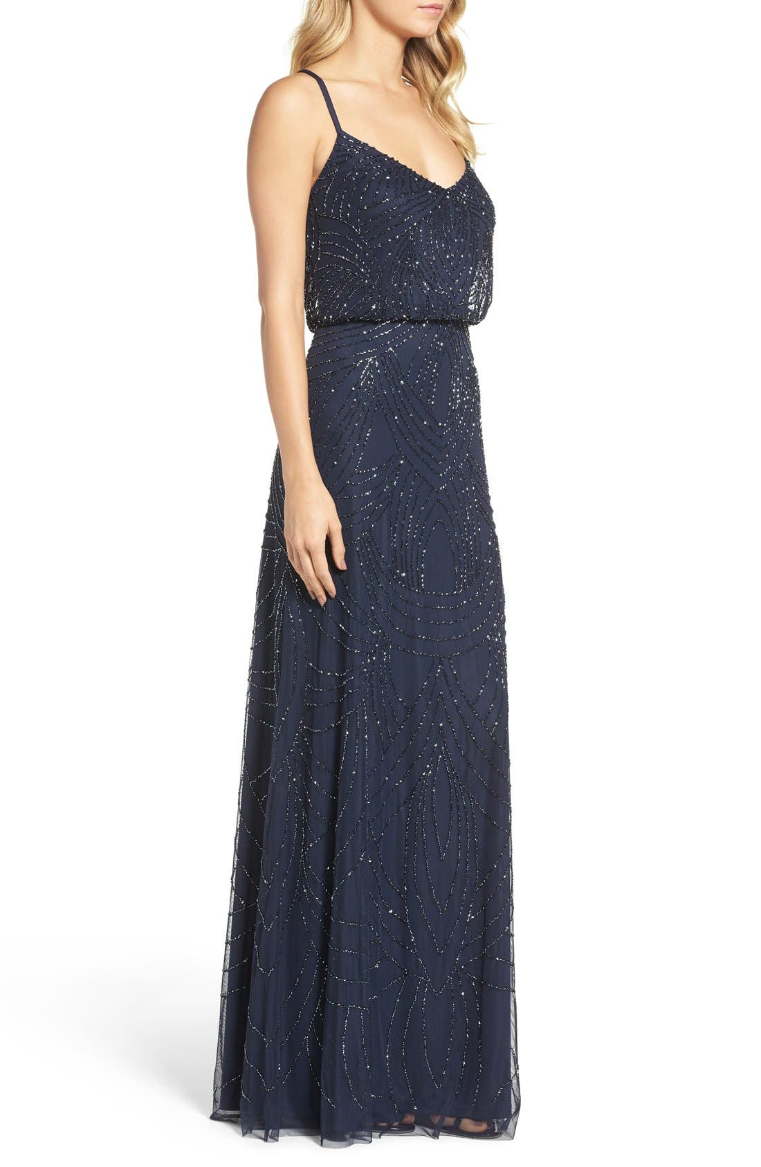 Beaded Chiffon Blouson Gown,                             Alternate thumbnail 3, color,                             Navy