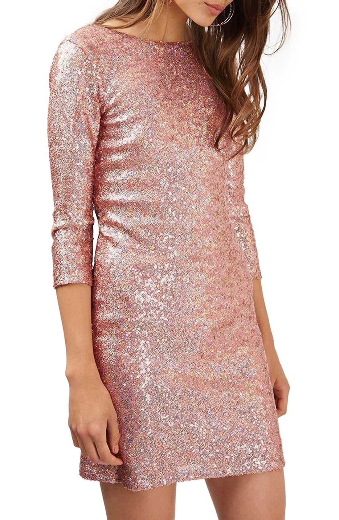 Topshop Sequin Body-Con Minidress