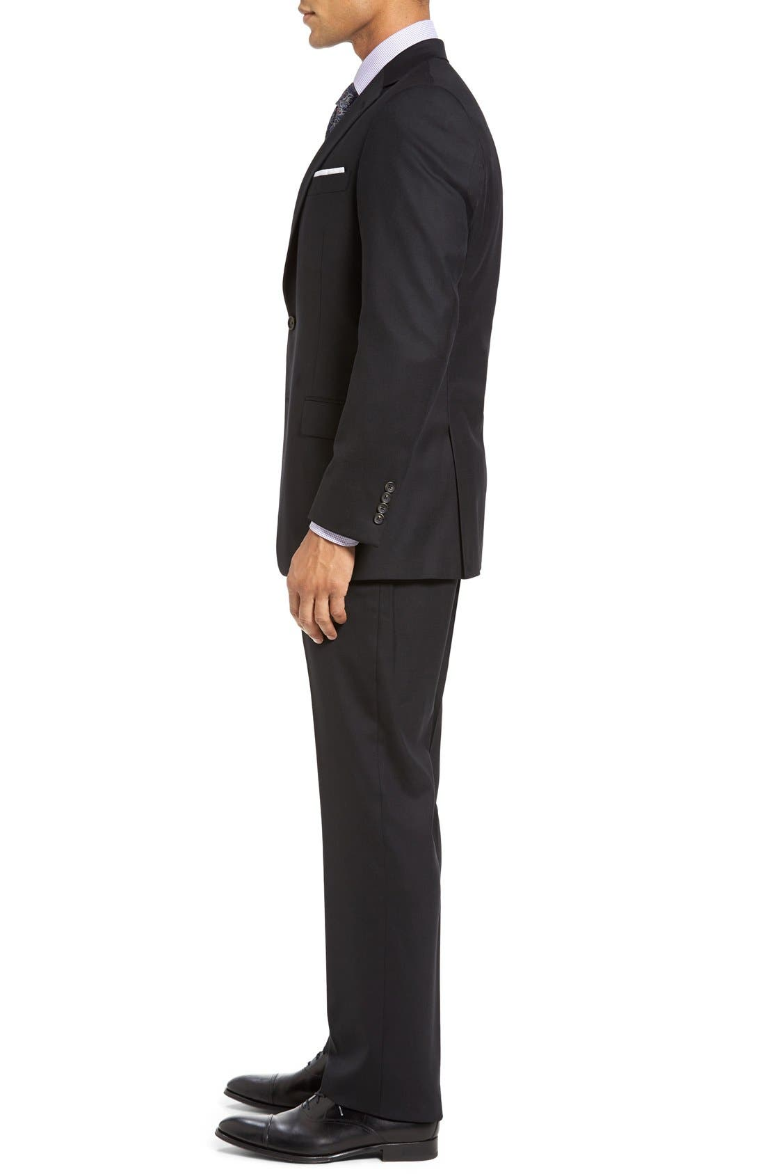 New York Classic Fit Solid Stretch Wool Suit,                             Alternate thumbnail 3, color,                             Black