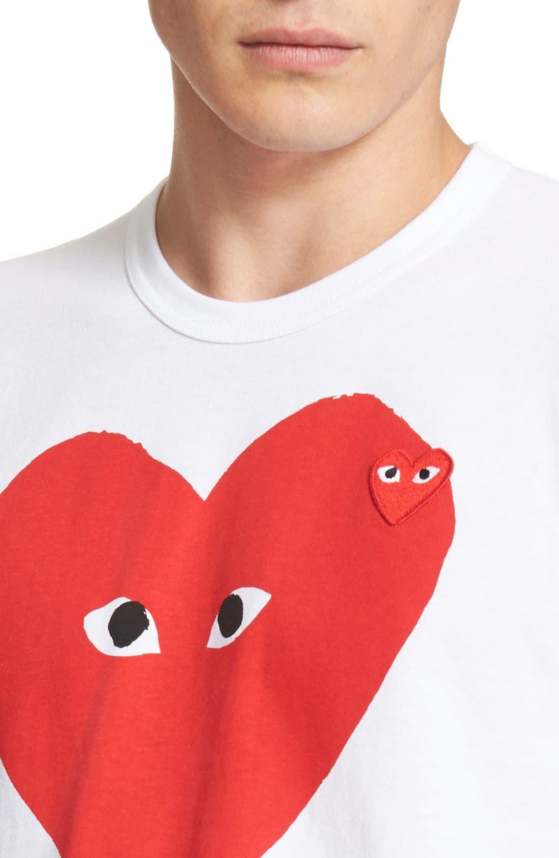 Comme des Garçons PLAY Graphic T-Shirt,                             Alternate thumbnail 4, color,                             White